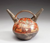 Strap-handle Vessel with Bird Images, Huari culture, Pre-Columbian, fired clay and slip