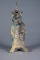 Standing Figure Wearing Headdress, Maya culture, Jaina Island, Pre-Columbian, fired clay and pigment