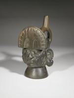Stirrup Vessel in Form of Head of Fanged Deity, Moche culture, Pre-Columbian, blackware