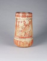 Cylinder Vessel, Maya culture, Pre-Columbian, fired clay and slip