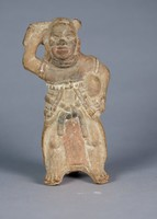 Whistle in Form of Ballplayer, Maya culture, Pre-Columbian, fired clay and slip