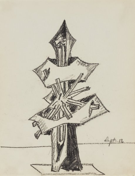 Untitled, Seymour  Lipton, black oil crayon with graphite underdrawing on paper
