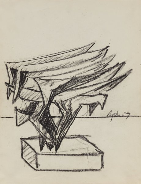 Untitled, Seymour  Lipton, oil crayon on paper