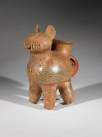 Feline Vessel, Vicus culture, Pre-Columbian, fired clay and slip
