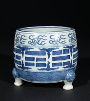 Three-footed Incense Burner with Taoist Trigrams (Bagua), Cloud, Wave and Lion Motifs