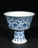"Tall Footed Blue-and-Whiter Butter Lamp with Lotus Motifs and ""Om Mani Padme Hum"" Mantra of Guanyin (Avalokiteshvara)"