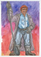 Black steelworker wearing a long black jacket, blue shirt and pants, and gloves holding a long tool.