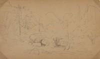 "Sketch for ""Winter Scene, Yosemite"" and ""Yosemite Winter Scene"" (recto); Yosemite Sketch (verso), Albert Bierstadt, graphite on wove paper; double-sided"