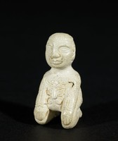 Kneeling Figure with Incised Butterfly Motif, China, jade