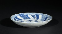 Blue-and-White Dish with Crane in Lotus Pond Motif