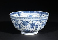 Blue-and-White Bowl with Phoenix and Bamboo on Rock and Flowers of the Four Seasons Interior and Women's Activites Exterior