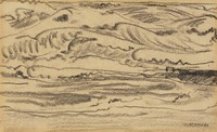 A sketch of a landscape scene depicting a sea in the foreground with mountains behind it.