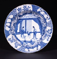 Blue-and-White Dish with Scenes of Women's Activities and Floral Motifs