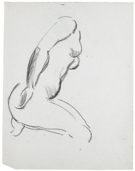 Sketch of a nude female. She sits on her heels and leans slightly forward.