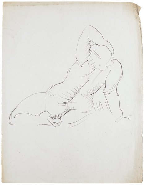 Line drawing of nude figure. The figure faces away from the viewer. The left arm is raised over the head and the right arm supports her. The right leg is bent.