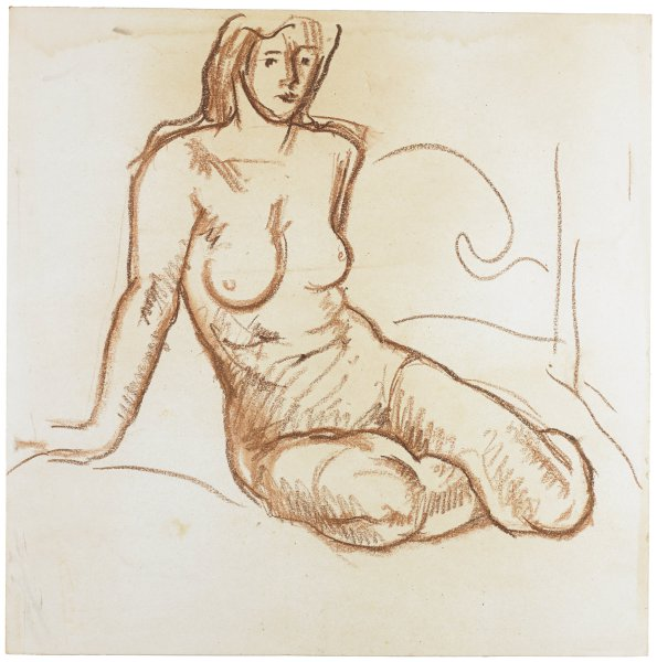 A nude woman sits on a bed leaning on her right arm with her legs folded to her left side.