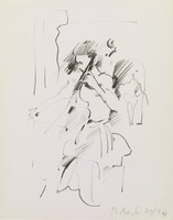 Cellist, Rosemarie Beck, crayon lithograph