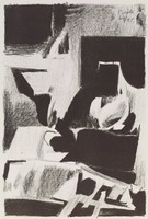 Interior, Janice Biala, crayon lithograph, with graphite framing lines