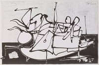 Bird Lives, Carmen Louis Cicero, lithograph with graphite framing lines
