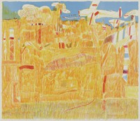 Landscape with Airplane, Carmen Louis Cicero, crayon lithograph on Arches paper