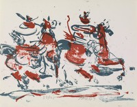 Two Horsemen, Miller Farr, lithograph
