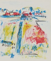 Landscape, Jane Freilicher, lithograph on Arches paper