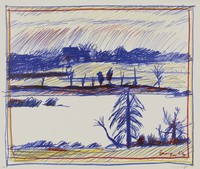 Winter Landscape, Paul Georges, lithograph on Arches paper