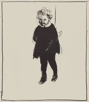 Standing Child, Paul Georges, crayon lithograph on Arches paper