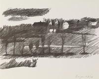 Landscape, Paul Georges, crayon lithograph