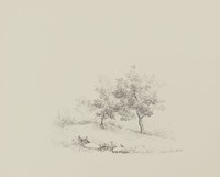Two Trees, Léon Hartl, crayon lithograph on Arches paper