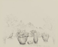 Still Life with Bird, Léon Hartl, crayon lithograph on Arches paper