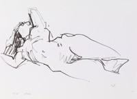 Nude, Head Thrown Back, Wolf Kahn, crayon lithograph