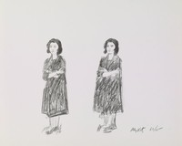 Double Portrait, Alex Katz, crayon lithograph