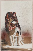 Old Lady on Beach, David Levine, crayon, tusche, and spatter lithograph, with framing lines, on Arches paper