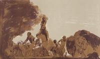 Animal Kingdom, David Levine, Purple, brown, and ochre tusche lithograph on wove paper