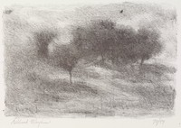 Trees, Richard Mayhew, crayon lithograph