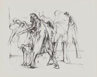 Figure Group, Michael Mazur, lithograph on Arches laid paper