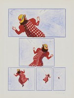 You Will Never Catch Me (five boxes on sheet, labeled 1, 2, 3, 4, 5), Mara McAfee, lithograph on Arches paper