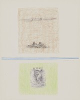 Landscape and Figures, Costantino Nivola, crayon and pen lithograph on Arches paper