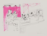 Farce, Reginald Pollack, tusche lithograph on laid paper