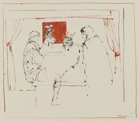 Two Puppeteers, Reginald Pollack, tusche and crayon lithograph on Arches paper