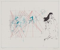 Le Maître, Reginald Pollack, crayon and tusche lithograph, with framing lines, on Arches paper