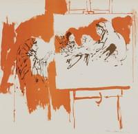 Woman Artist, Reginald Pollack, tusche lithograph on BFK paper