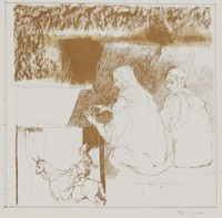 Puppeteer, Reginald Pollack, lithograph, with framing lines, on Arches paper