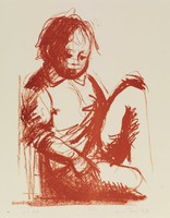 Seated Child, Paul Resika, crayon lithograph