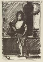 Standing Boy, Paul Resika, crayon lithograph