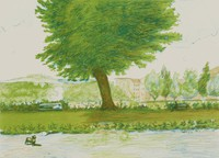 Noontime in Florence, Alvin Ross, tusche lithograph on BFK paper