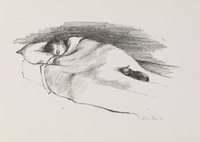 Sleeping Child with Cat, Alvin Ross, lithograph