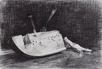 Watermelon, Alvin Ross, crayon lithograph