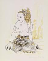 Native Woman, Tobias Schneebaum, lithograph